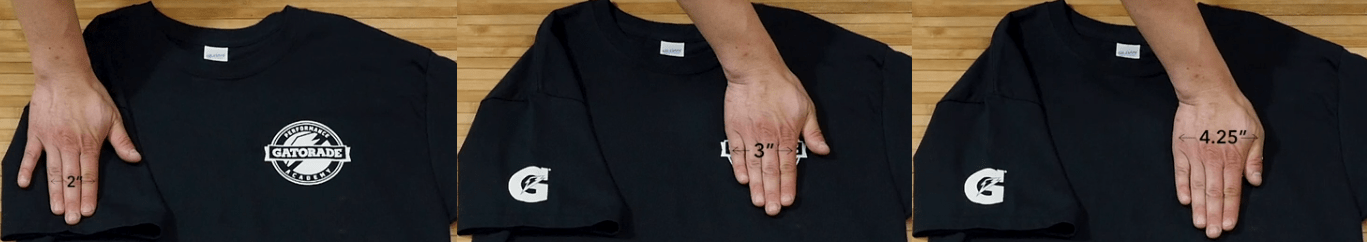 Finger sizing visualization for screen printing